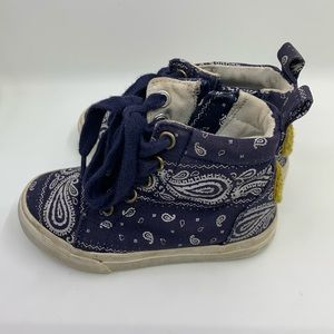 Toddler Boys shoes Hightops blue paisley size 7
